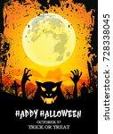 happy halloween poster with...   Shutterstock .eps vector #728338045