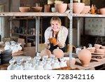 amiable female artisan having...   Shutterstock . vector #728342116