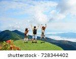 happy people with hands up... | Shutterstock . vector #728344402