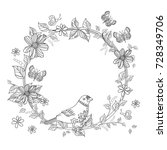 wreath with bird on floral... | Shutterstock .eps vector #728349706