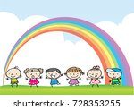 cartoon kids with sky and... | Shutterstock .eps vector #728353255