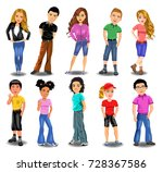 teenagers collection | Shutterstock .eps vector #728367586