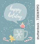 christmas greeting card. small... | Shutterstock .eps vector #728369092