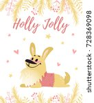 cheerful corgi dog in jumper... | Shutterstock .eps vector #728369098