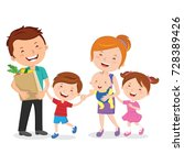 happy family after shopping for ... | Shutterstock .eps vector #728389426