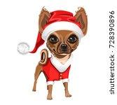 Little Dog In A Red Santa Clau...