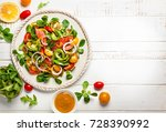 smoked salmon  avocado and... | Shutterstock . vector #728390992