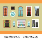 different interior windows of... | Shutterstock .eps vector #728395765