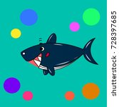 cartoon shark | Shutterstock .eps vector #728397685