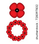 poppy isolated and a wreath of... | Shutterstock .eps vector #728397832