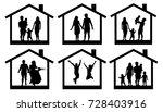 family silhouette home. couple... | Shutterstock .eps vector #728403916