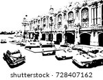 black and white classic cars in ... | Shutterstock .eps vector #728407162