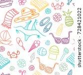 beach cute doodle seamless...   Shutterstock .eps vector #728421022