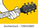 guitar player hand playing c...   Shutterstock .eps vector #728425885