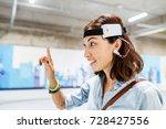 woman with digital headset...   Shutterstock . vector #728427556