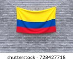 colombia flag hanging on brick... | Shutterstock . vector #728427718