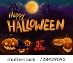happy halloween party background | Shutterstock . vector #728429092
