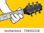 guitar player hand playing f... | Shutterstock .eps vector #728432218