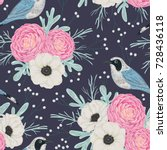 seamless pattern with pink... | Shutterstock .eps vector #728436118