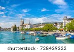 historical part of zurich with... | Shutterstock . vector #728439322