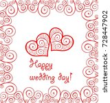greeting wedding card with red... | Shutterstock .eps vector #728447902
