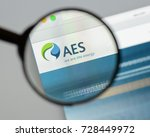 Small photo of Milan, Italy - August 10, 2017: AES website homepage. It is a Fortune 200 company that generates and distributes electrical power. AES logo visible.
