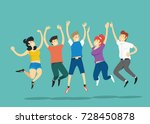 jumping people. vector... | Shutterstock .eps vector #728450878