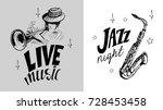 jazz emblem with a saxophone ... | Shutterstock .eps vector #728453458