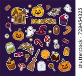 halloween stickers set. pumpkin ... | Shutterstock .eps vector #728454325