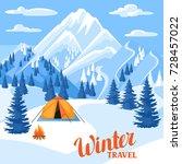 winter travel illustration.... | Shutterstock .eps vector #728457022