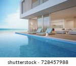 luxury beach house with sea... | Shutterstock . vector #728457988