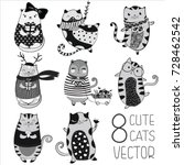 big vector collection with cute ... | Shutterstock .eps vector #728462542