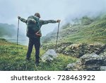 happy man backpacker hiking in...   Shutterstock . vector #728463922
