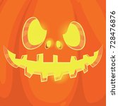 pumpkin face on background.... | Shutterstock .eps vector #728476876