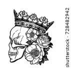 beautiful romantic skull with... | Shutterstock .eps vector #728482942