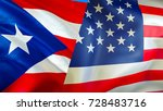 usa and puerto rico flags. 3d... | Shutterstock . vector #728483716