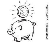 cartoon piggy bank with coin.... | Shutterstock .eps vector #728488252