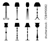 silhouettes of floor lamps... | Shutterstock .eps vector #728490082