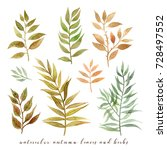 watercolor autumn leaves and... | Shutterstock . vector #728497552