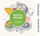 breakfasts and brunches label.... | Shutterstock .eps vector #728504662
