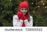 cheerful woman in santa hat...   Shutterstock . vector #728505532