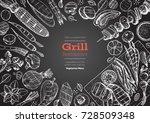 grill menu design template.... | Shutterstock .eps vector #728509348