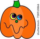 cartoon pumpkin with a goofy... | Shutterstock .eps vector #728510866
