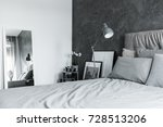lamp above grey king size bed... | Shutterstock . vector #728513206
