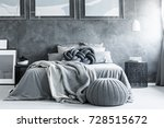 pouf near king size bed with... | Shutterstock . vector #728515672