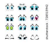 Set Of Cartoon Eyes Emotions To ...