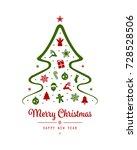 merry christmas tree greeting...   Shutterstock .eps vector #728528506