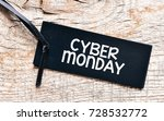 cyber monday text on a black tag | Shutterstock . vector #728532772