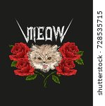 rock and roll cat and roses.... | Shutterstock .eps vector #728535715