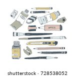 hand drawn art tools and... | Shutterstock .eps vector #728538052